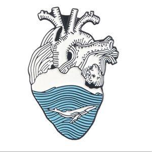 Anatomical Heart Scrub Lapel Pin Brooch Whale Wave